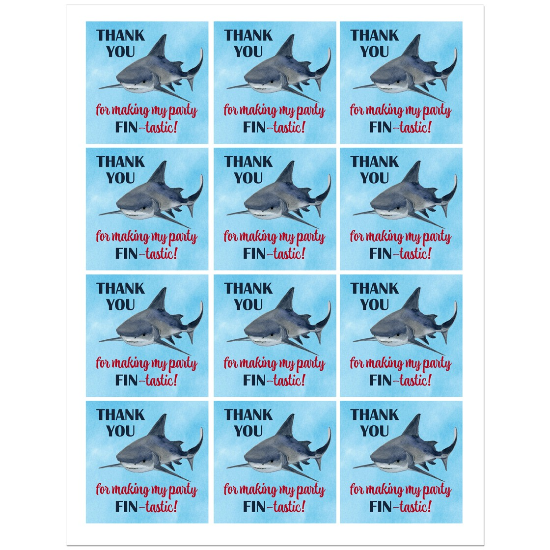 Shark Birthday Party Favor Tag By That Party Chick
