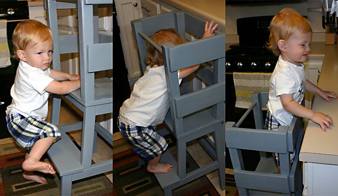 That Poore Baby climbs up the IKEA Hack Learning Tower