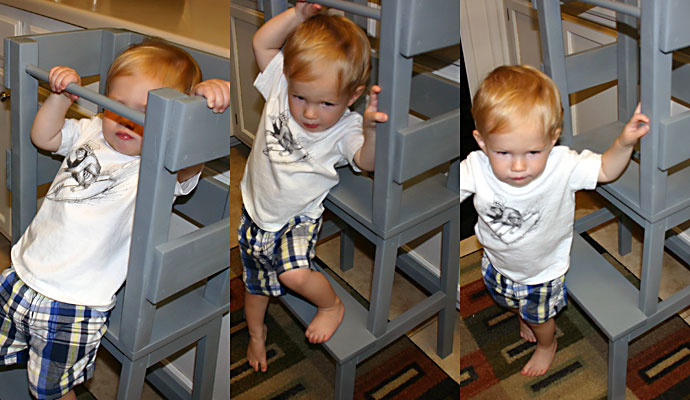 That Poore Baby climbs down from the IKEA Hack Learning Tower
