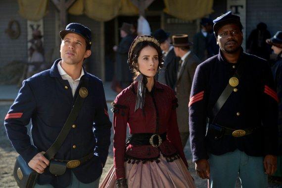 "TIMELESS -- ""The Assassination of Abraham Lincoln"" Episode 101 -- Pictured: (l-r) Matt Lanter as Wyatt Logan, Abigail Spencer as Lucy Preston, Malcolm Barrett as Rufus Carlin -- (Photo by: Sergei Bachlakov/NBC)"