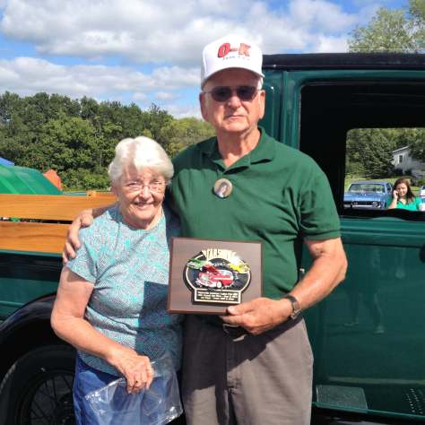 John & Marilyn taking the prize at a local car show with their 1928 Model A Ford Truck