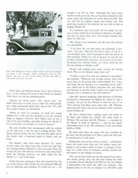 Continental Insurance Company Bulletin Dec. 1969 featuring employees with Model A Fords Pg 1