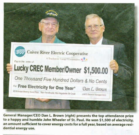 Cuivre River Electric Coop awards $1500 in electricity
