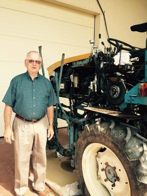 John (Dad), wine tractor, France 2015