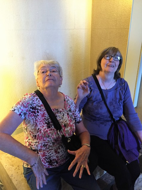 Acting up at the Louvre, Marilyn (Mom), Karen, France 2015