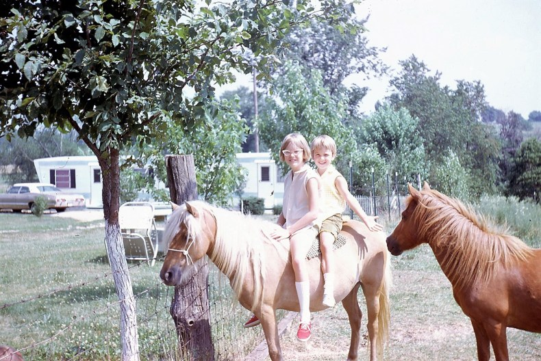 Kim, Sue on a horse