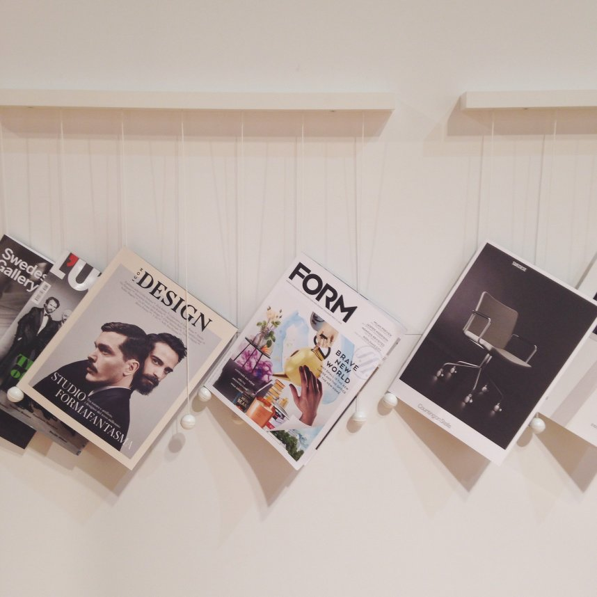 Creative way to hang magazines by Swedese.