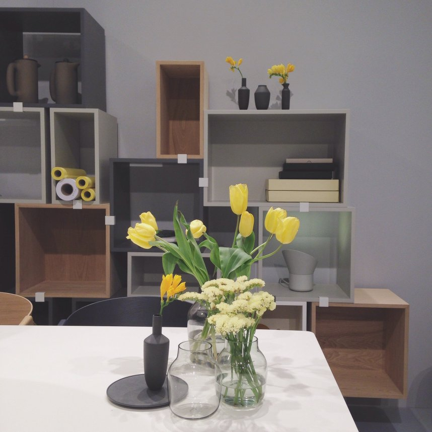 Yellow, grey & wood at Muuto.