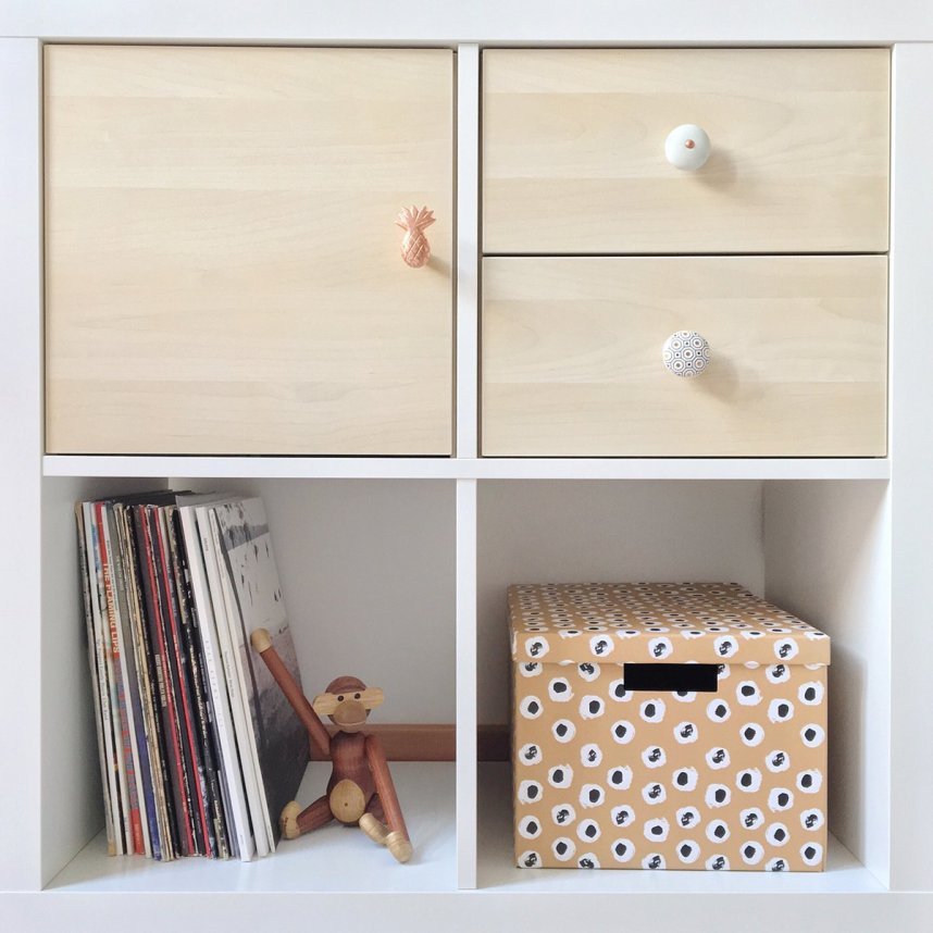 Diy how i customized my ikea kallax shelving unit with for Cardboard drawers ikea