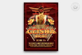 Geisha Night Flyer Template Psd