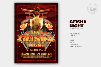 Geisha Party Flyer Template psd V.1