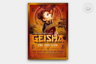Geisha Party Flyer Template psd V.3