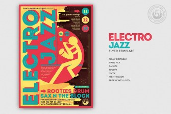 Electro Jazz Flyer Template PSD