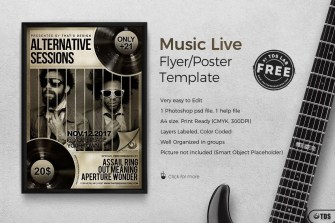Free PSD Flyer Music Live Concert to customize