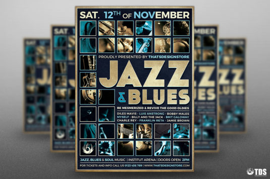 Jazz Blues Flyer Template Design For Photoshop