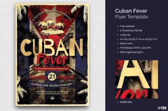 Cuban Fever Flyer Template, Salsa Psd flyers