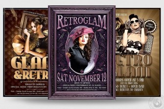 Retro Flyer Templates Bundle for photoshop to download