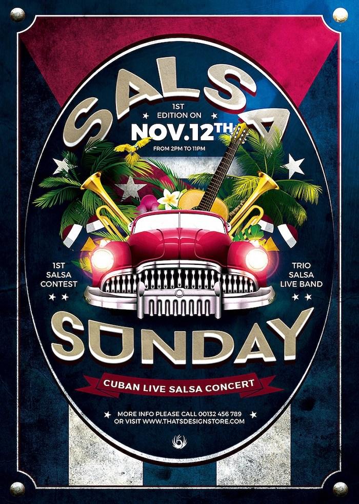 Cuban Live Salsa Flyer Templates PSD Design For Photoshop V2