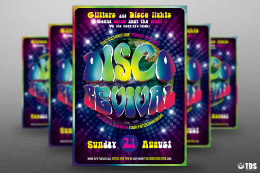 Disco Revival Flyer Template Psd Design for photoshop