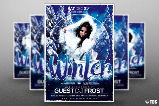 Winter Solstice Flyer Template psd