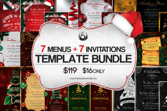 Xmas Bundle: 7 Christmas Menus + 7 Invitations