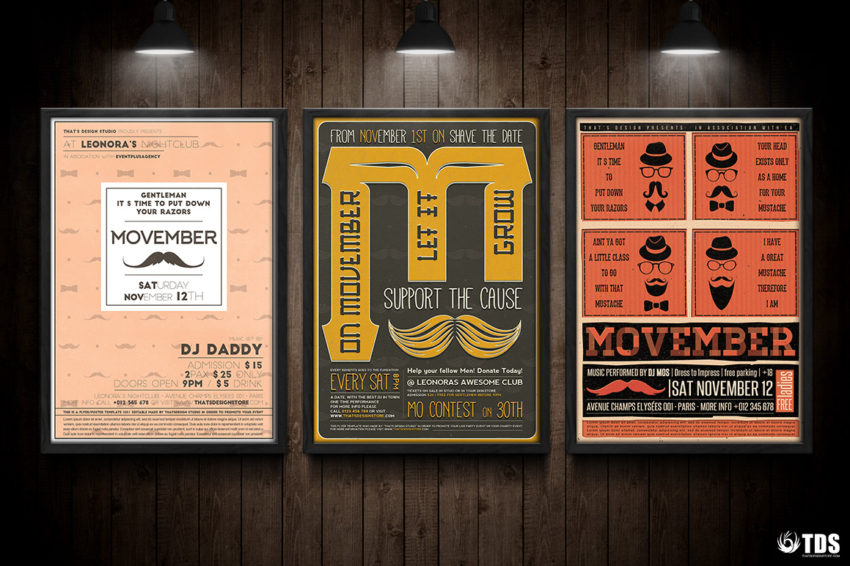 3 FLYERS PSD - Movember Flyer Templates