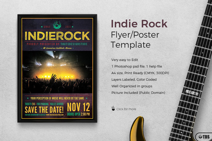 Indie Rock Flyer Template Psd
