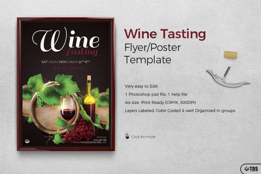 Wine Tasting Flyer Template Psd Design for photoshop