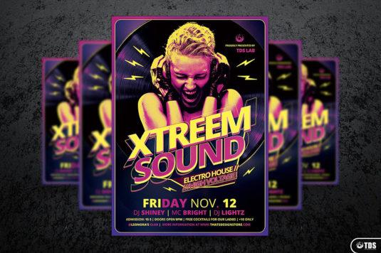 Xtreem Sound Flyer Template psd