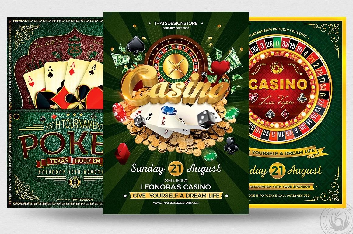 3 PSD - Vegas Poker Casino Flyers
