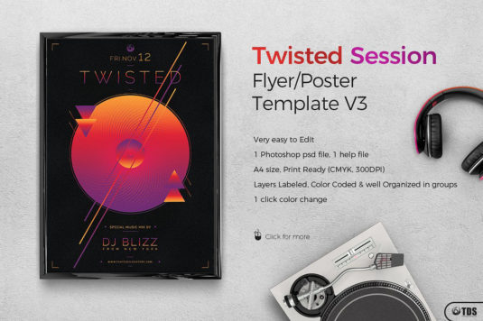 Twisted Session Flyer Template PSD Design for photoshop