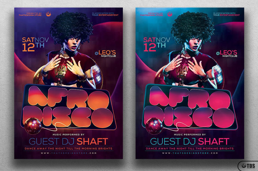 Afro Disco Flyer Template Psd Design for photoshop