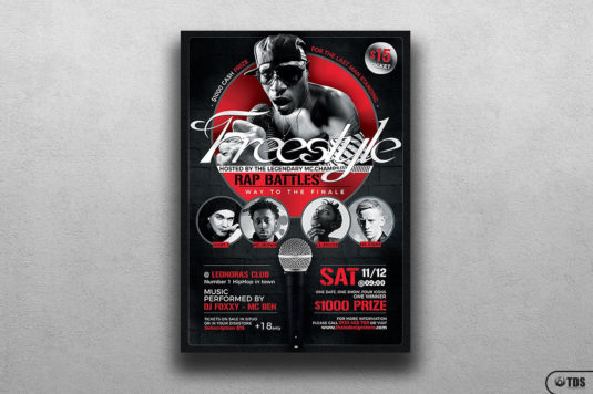 Freestyle Rap Battle Flyer Template for Photoshop V7