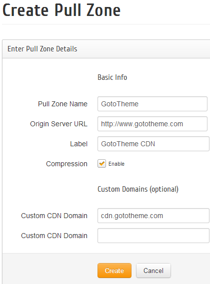 Create a Pull Zone in MaxCDN