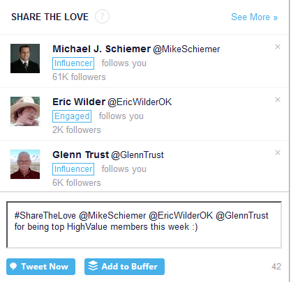 Share the love section in commun.it