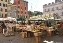 open air market in Chiavari