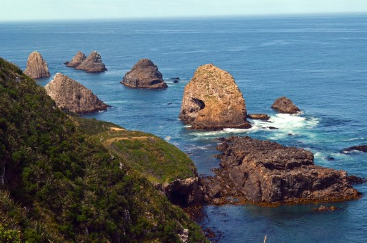 View of rocky islands off of Nugget Point