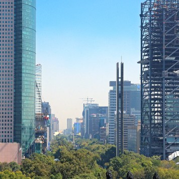 Tall building towers and greenery in Mexico City