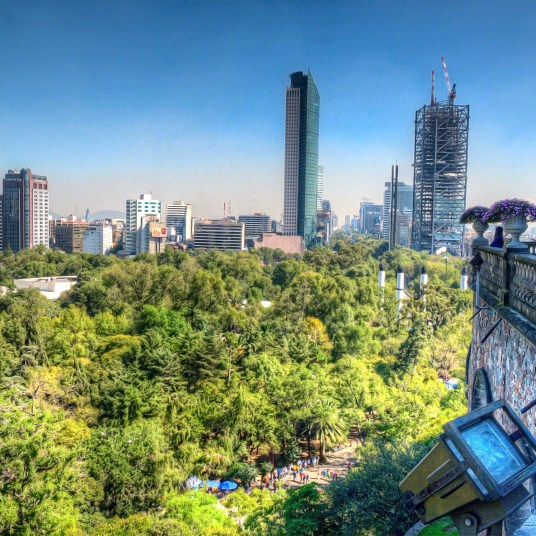 Green Park inside Mexico City, with skyscraper background