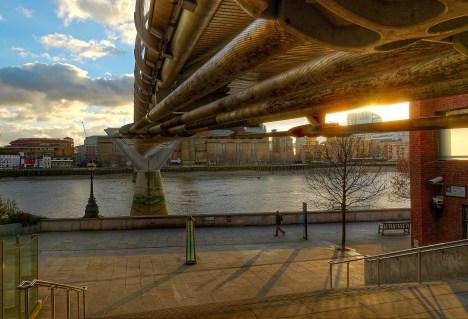 Millenium bridge underside at sunset, London, UK
