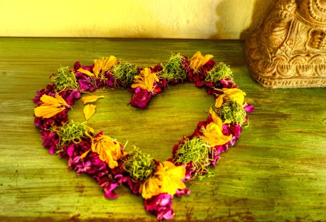 Heart shaped ring of flowers, Swasti Cottages, Bali