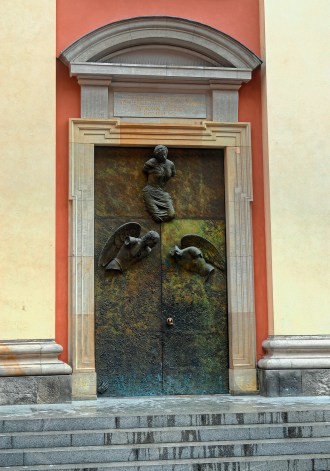 Statues on Doorway, Old Town Warsaw