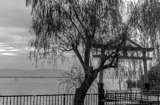Torii by lake Biwa, Japan