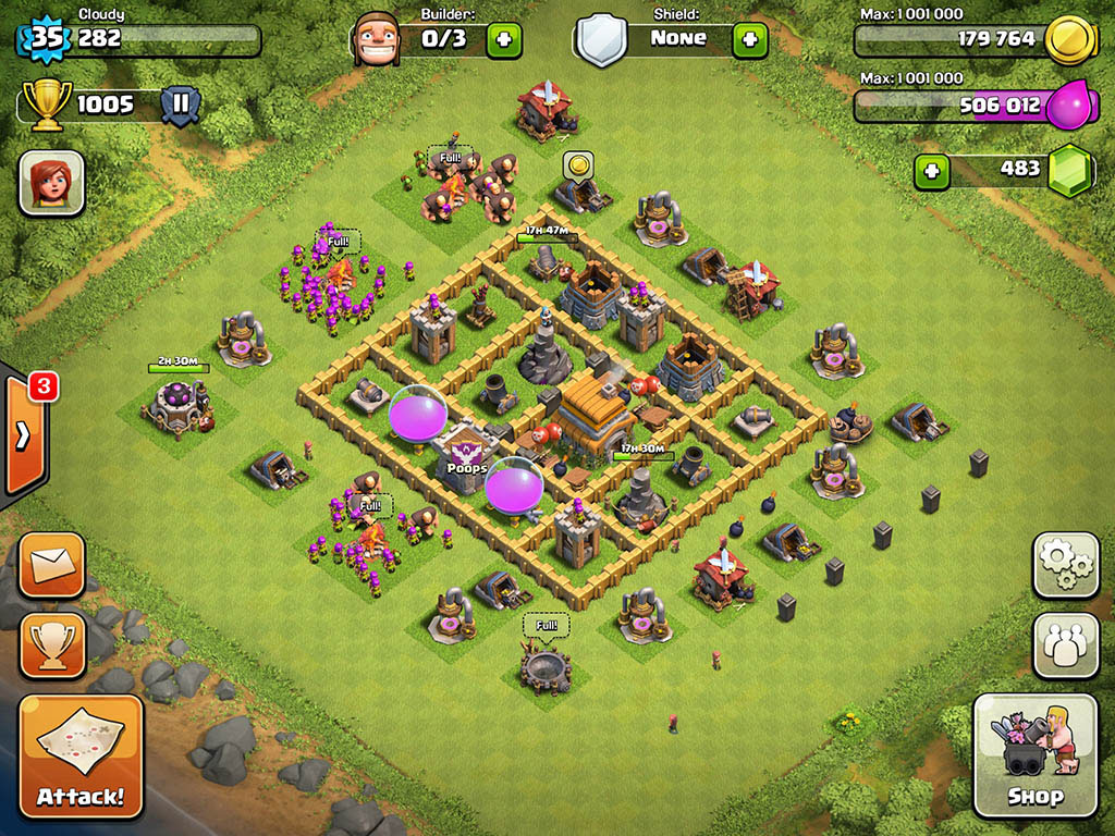 Clash of clans Town Hall 6 Trophy Base - 10