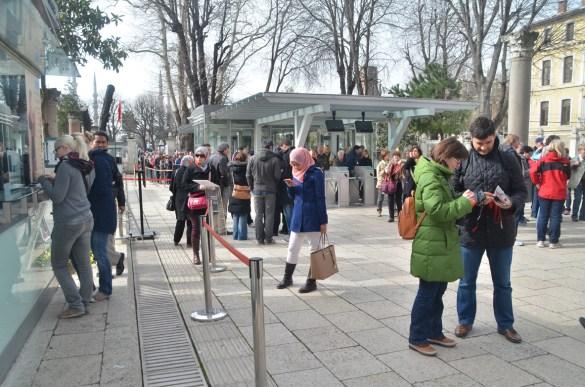 The queue into Hagia Sophia
