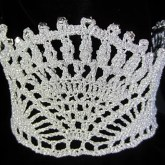 silver crocheted crown with beads
