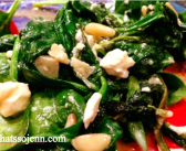 Spinach with Feta and Pinenuts *As Seen in OurSeder.com*