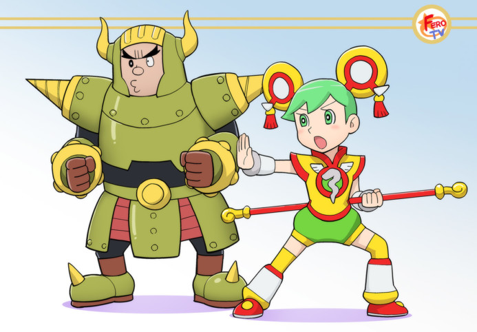 Rock Bison, Dragon Kid and Origami Cyclone done in the style of 藤子不二雄's Doraemon