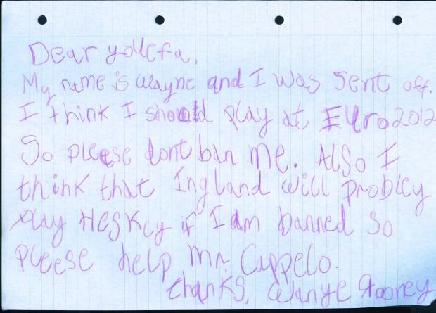 Wayne Rooney's appeal letter to UEFA discplinary committee
