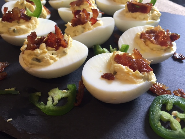 Maple Candied Bacon and Jalapeno Topped Deviled Eggs